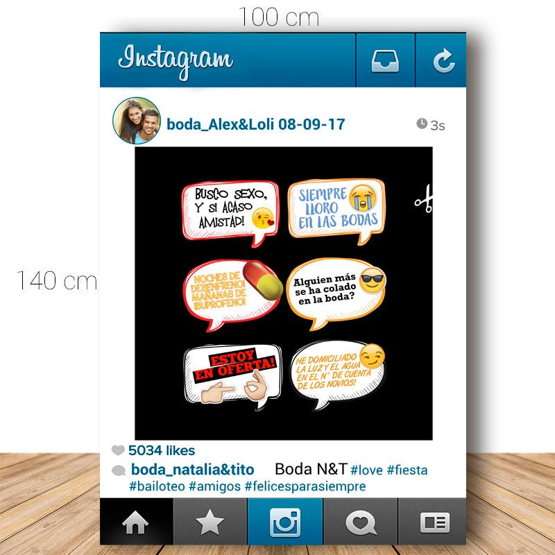 Marco de instagram para boda. 70x100cm. Personalizable. Incluye 6 carteles.