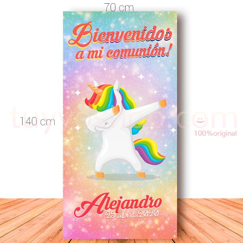Cartel de bienvenida para comunión. 70x140cm. Modelo Dab Unicornio