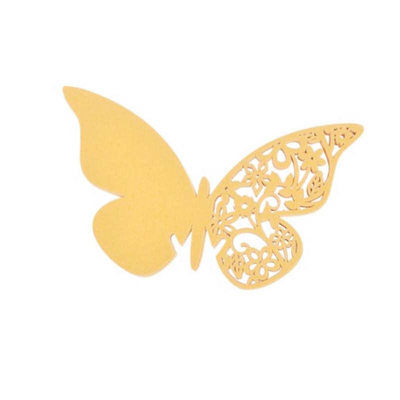 Lote 12 mariposas de papel Oro