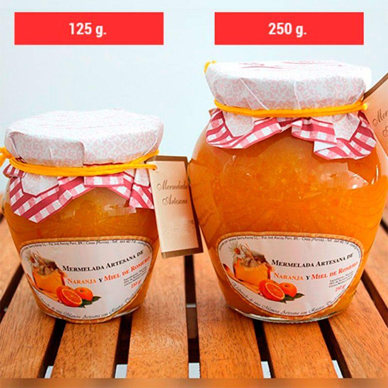 Comparativa entre los 2 botes de mermeladas para boda disponibles. 125 y 250 gramos.