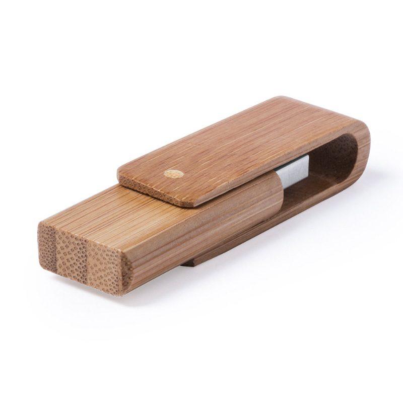 Memoria USB con carcasa de bambú. 16gb. Presentado en caja kraft.