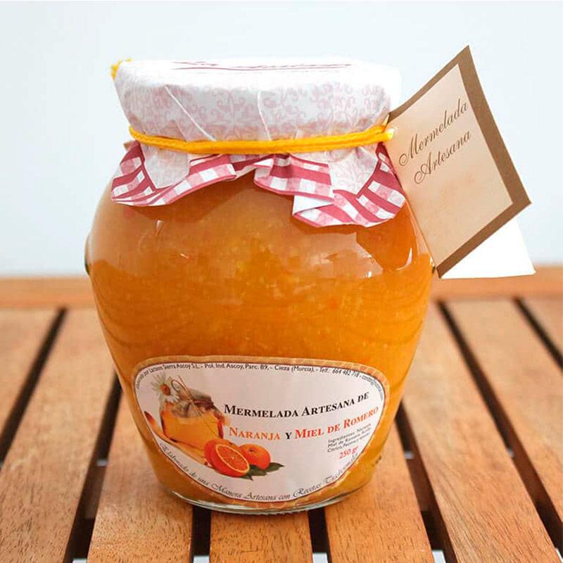 Mermelada para boda. Cristal. Sabor naranja y miel. Tapa de papel.