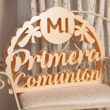 Corcho Mi primera comunión en color crema