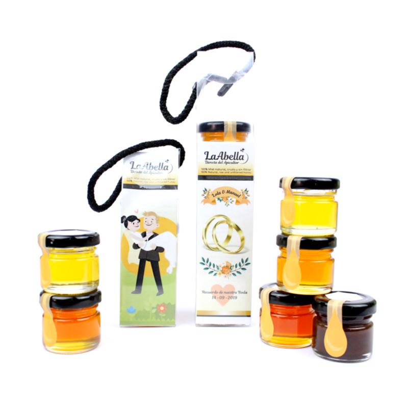 Estuche de miel para bodas. Personalizable. 100% natural, cruda y sin filtrar.