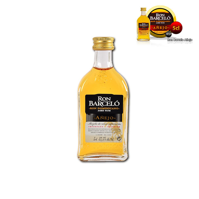 mini botella para boda Ron Barceló