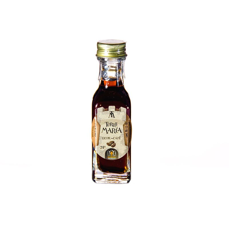 Botella de orujo mini cuadrada, 20ml, café