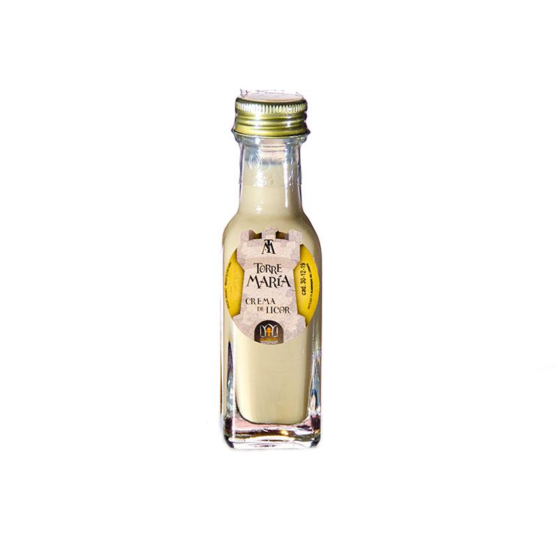 Botella de orujo mini cuadrada, 20ml, sabor Crema