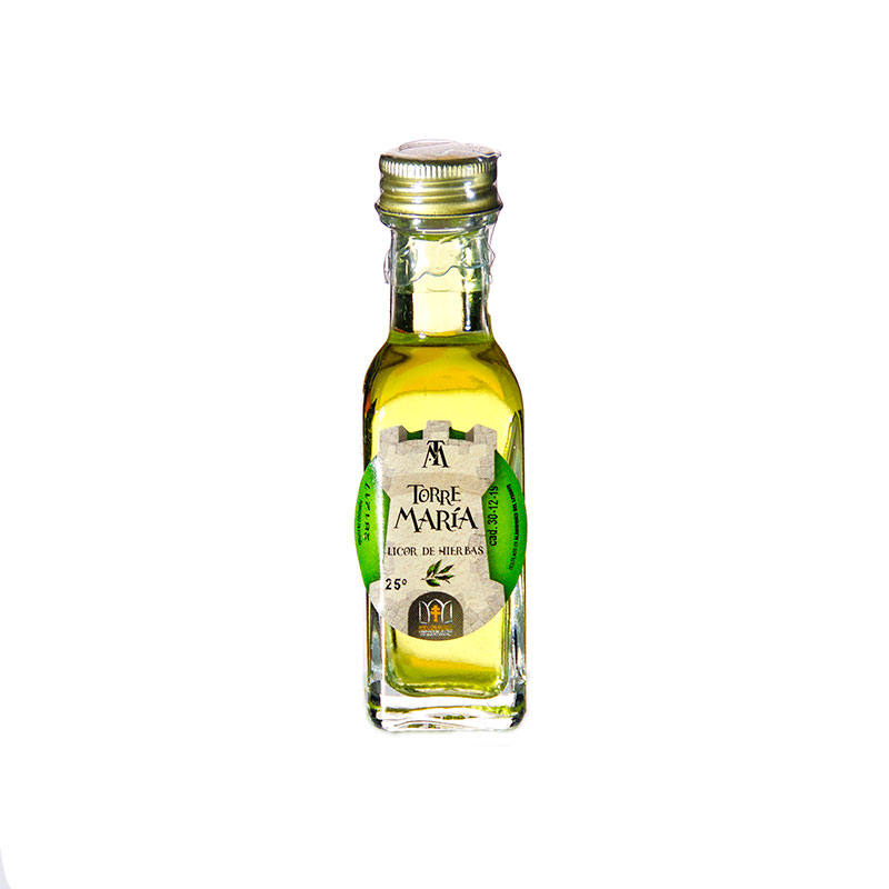 Botella de orujo mini cuadrada, 20ml, hierbas