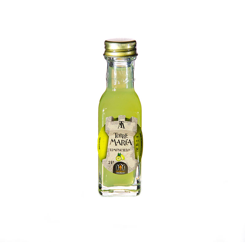 Botella de orujo mini cuadrada, 20ml, limoncello