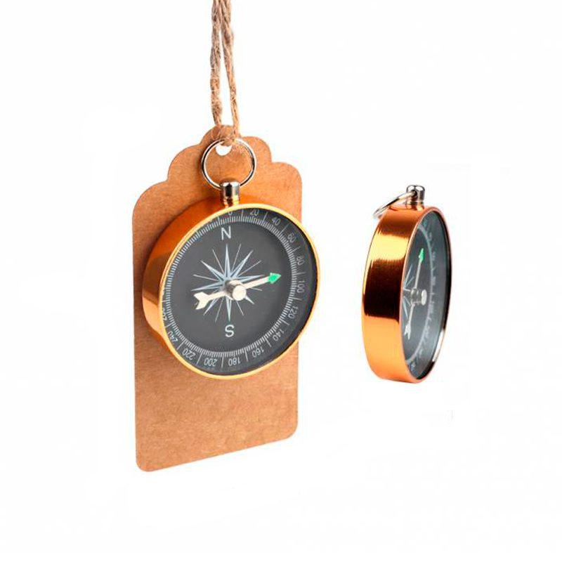 Ultimos regalos para invitados añadidos mini brujula vintage presentada con tarjeta kraf