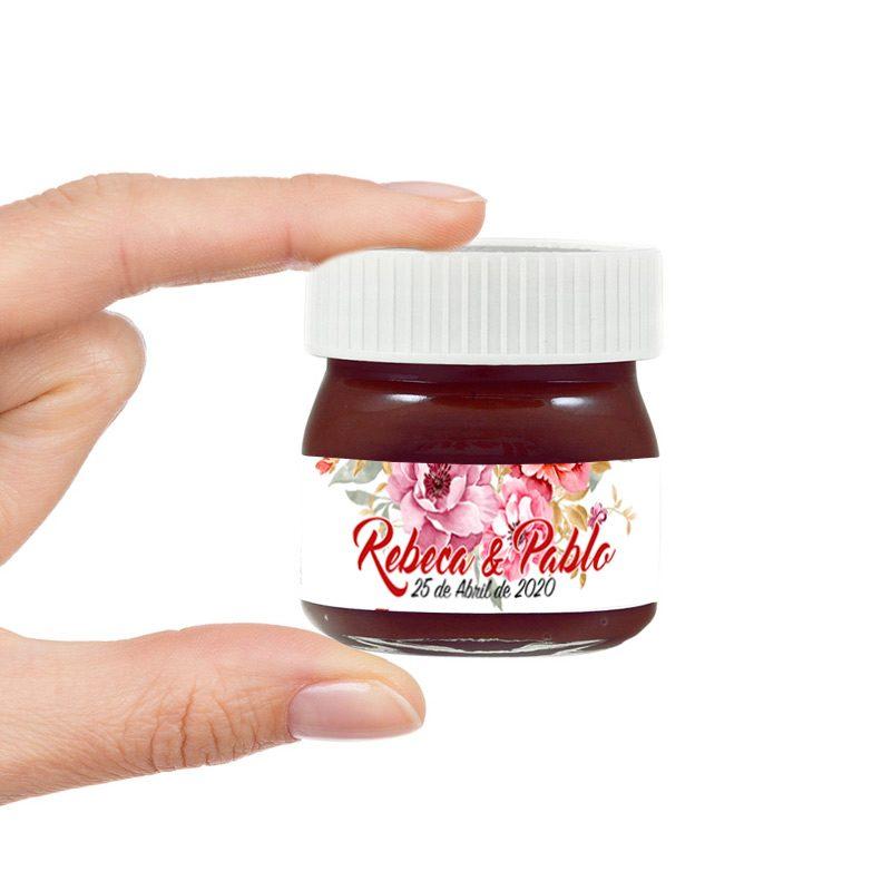 Nutella mini para boda. Personalizada con nombre y fecha. Modelo floral.