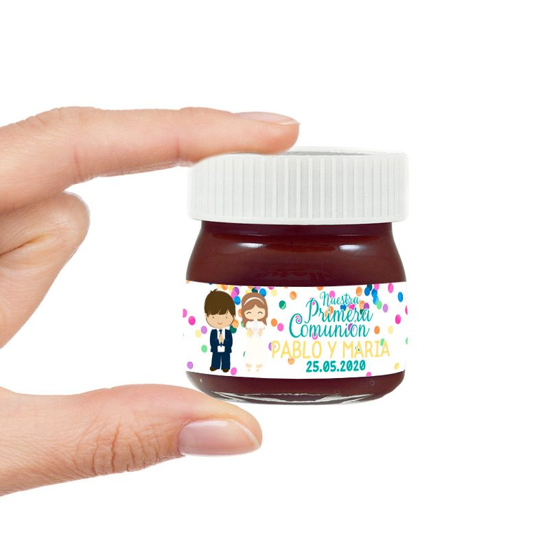 Nutella mini para comunión. Personalizada. Mellizos. Chico-Chica