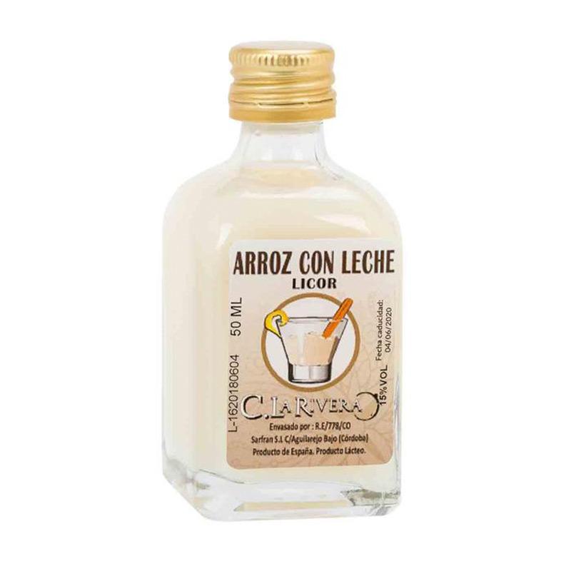 Licor en frasca de cristal. Sabor Arroz con Leche. La Rivera. 50ml.