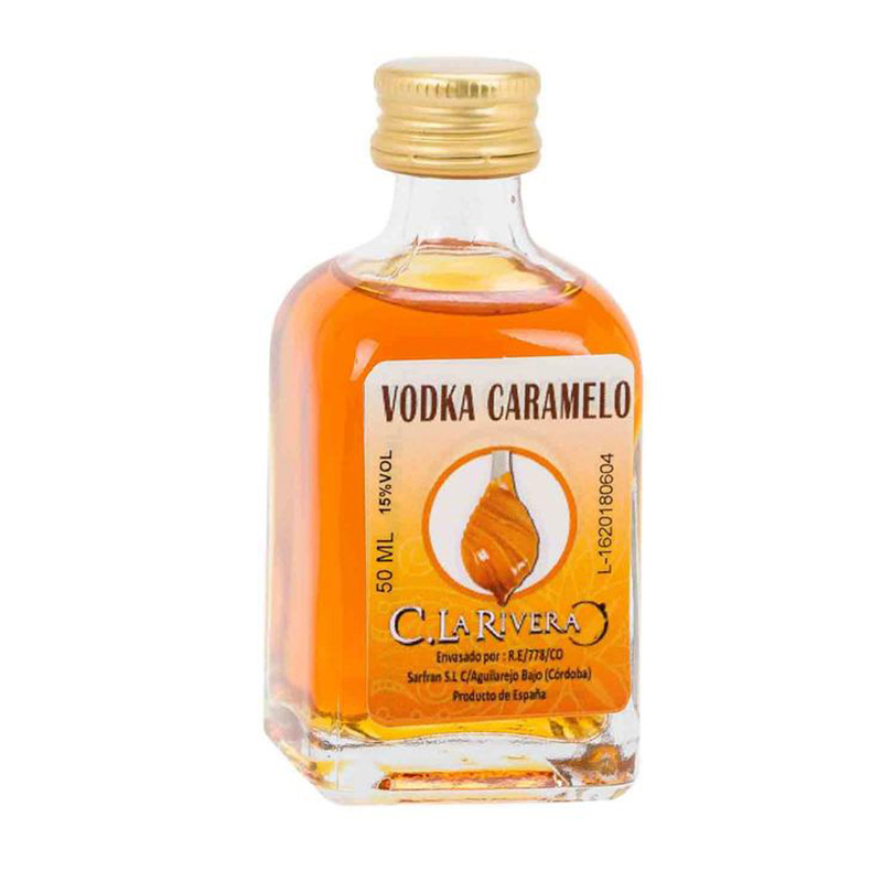 Licor en frasca de cristal. Sabor Vodka Caramelo. La Rivera. 50ml.