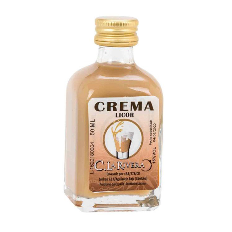 Licor en frasca de cristal. Sabor Crema. La Rivera. 50ml.