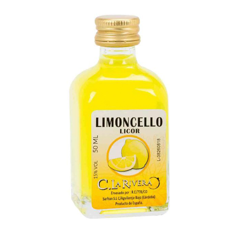 Licor en frasca de cristal. Sabor Limoncello. La Rivera. 50ml.