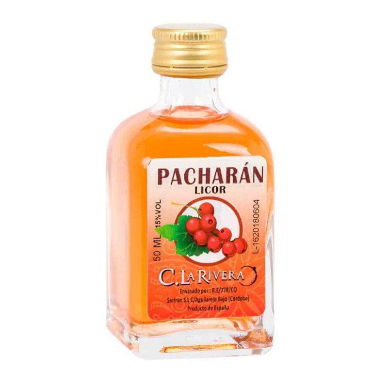 Licor en frasca de cristal. Sabor Pacharán. La Rivera. 50ml.