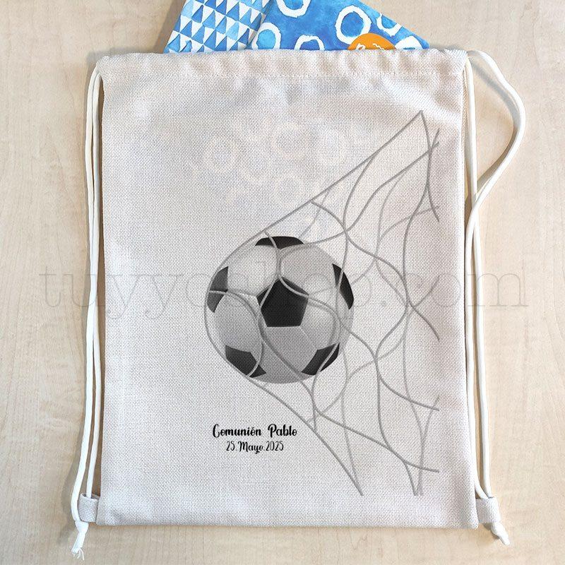 Mochila de cuerdas personalizada para comunión, modelo pelota mochila cuerdas comunion personalizada balon