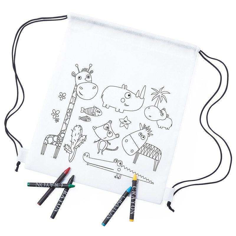 Mochila infantil para colorear. Modelo Animales. Incluye 5 ceras. mochila infantil para colorear modelo animales incluye 5 ceras detalles de comunion
