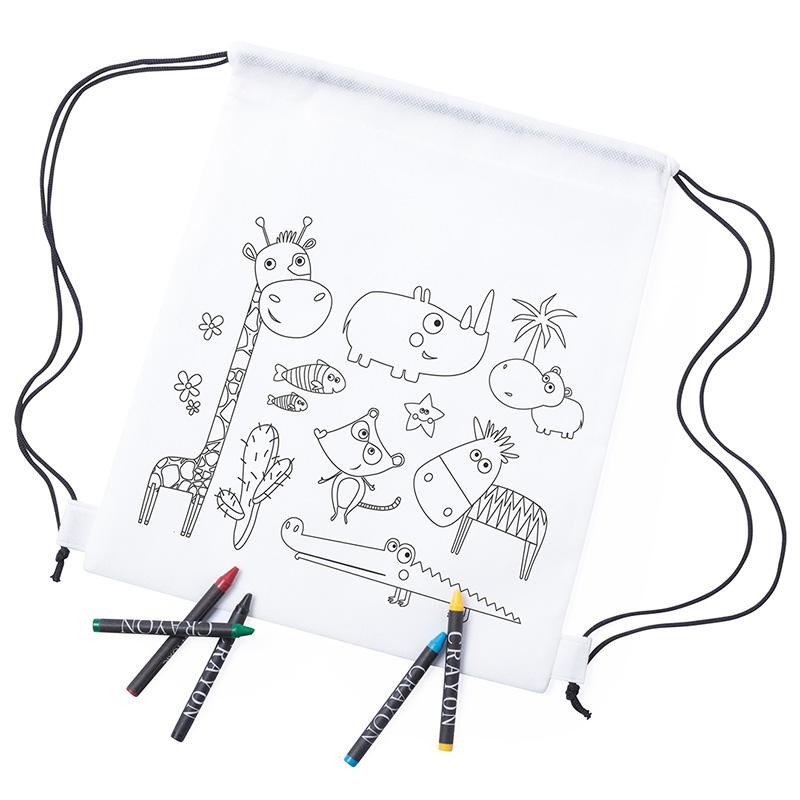Black Friday 2019 mochila infantil para colorear modelo animales incluye 5 ceras detalles de comunion