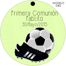 Etiqueta comunion diseño futbol