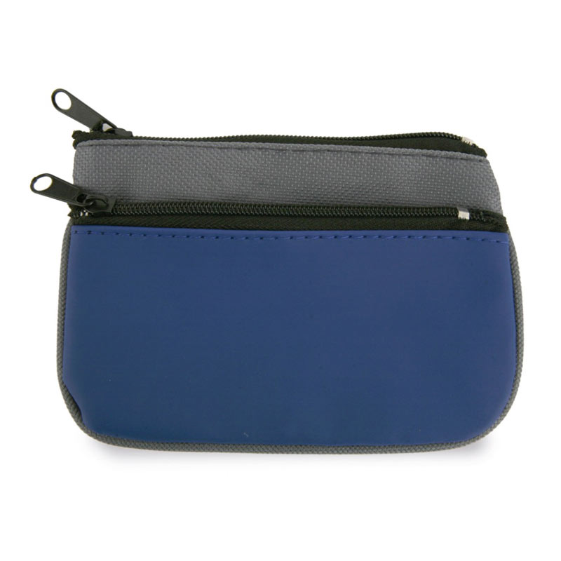 Monedero llavero doble cremallera. Nylon. Color Azul.