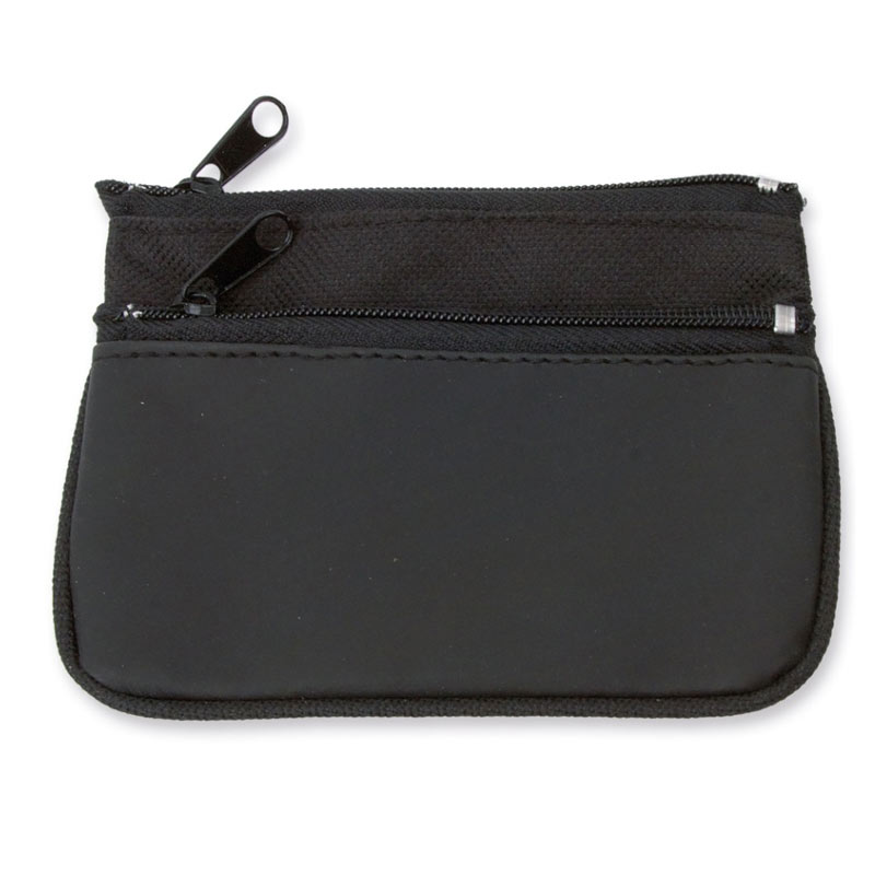 Monedero llavero doble cremallera. Nylon. Color negro.
