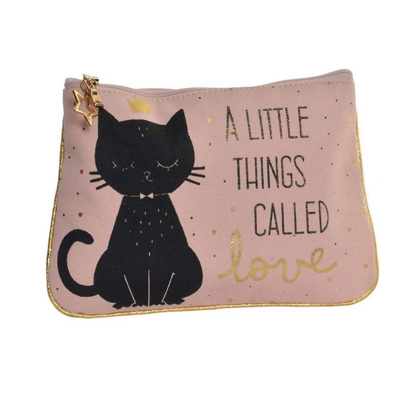Neceser para invitadas de boda. Black Cat. 2 modelos.20x15. Algodón
