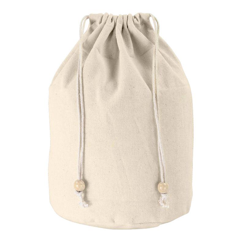 Neceser de algodón tipo saco. 25x15cm. Cierre con cuerdas.