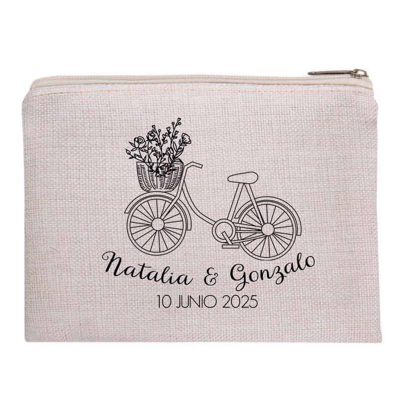 Neceser personalizado para boda. 20x15cm. Tacto suave. Modelo Bicicleta neceser para boda personalizado modelo bicicleta