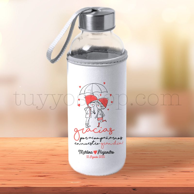 Botella H2O de cristal reutilizable con funda personalizada, tapón acero nuevo bidon h2O paraguas