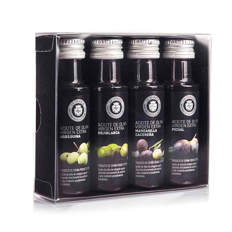 Pack 4 aceites degustación. 25ml. Estuche de presentación.