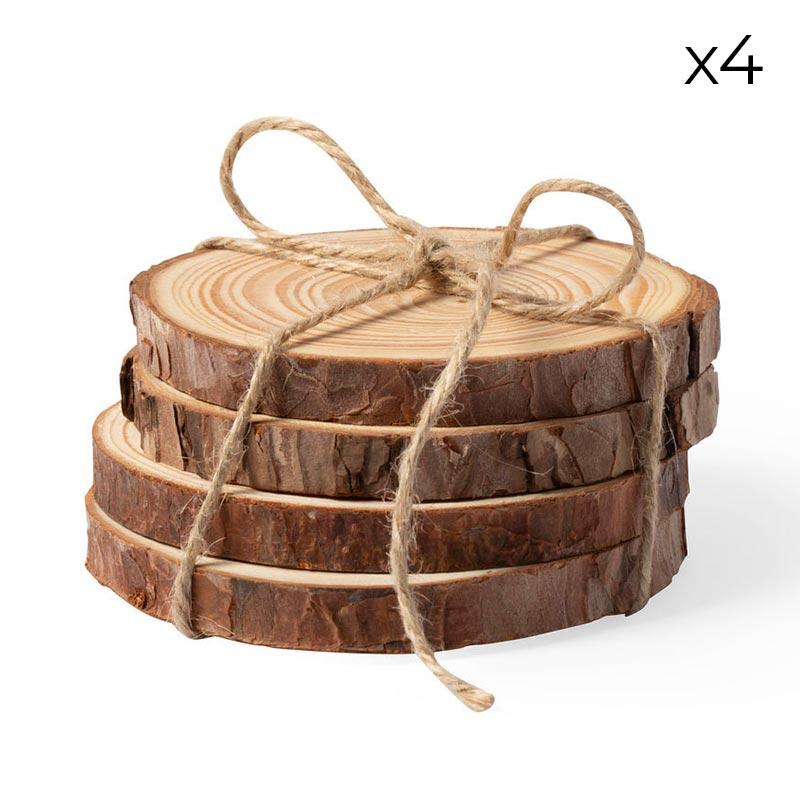 Ultimos regalos para invitados añadidos pack 4 posavasos madera natural