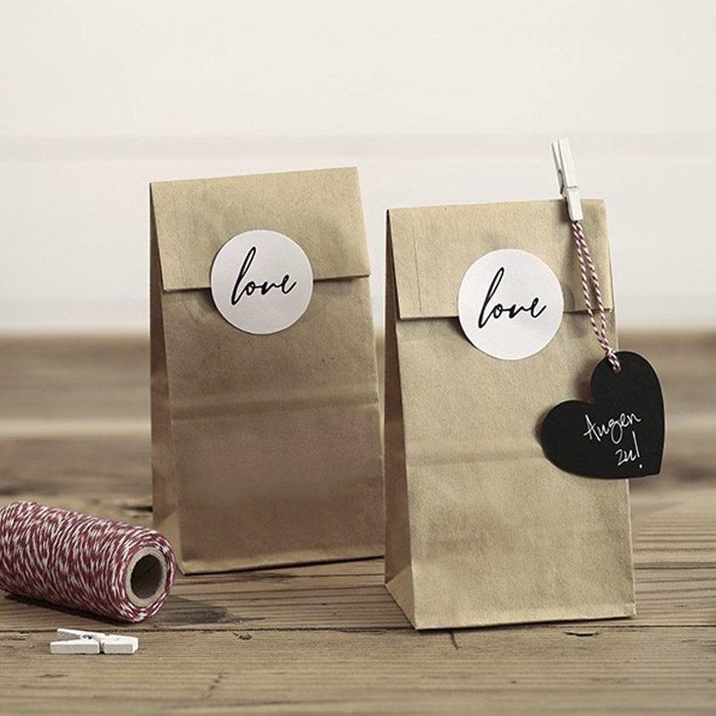 Pack 6 bolsas kraft. 6 pegatinas LOVE de regalo.