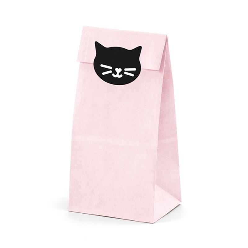 Pack 6 bolsas para regalo, modelo Cat. Incluye pegatinas.