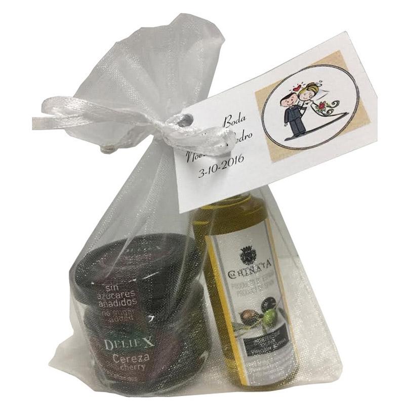 Pack de aceite para boda con mermelada de cerezas. Bolsa de organza de regalo.