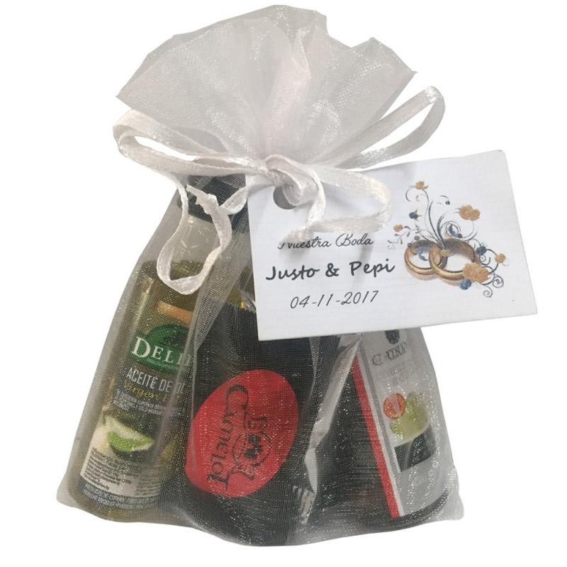 Pack aceite, vinagre, 5 napolitanas de chocolate + bolsa de organza