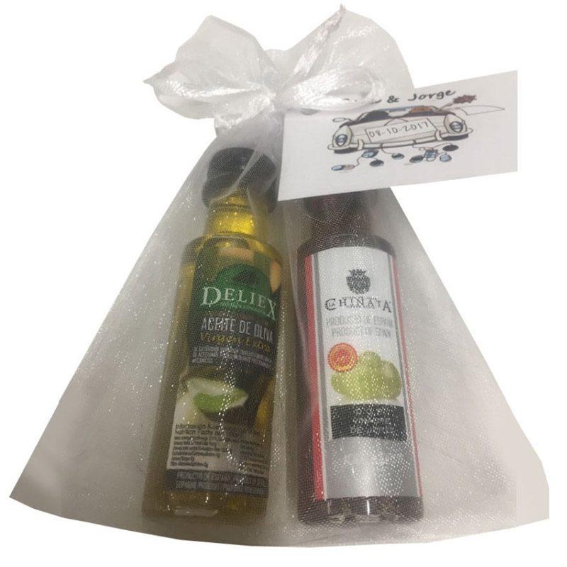 Pack aceite y vinagre + bolsa de organza. 25ml.