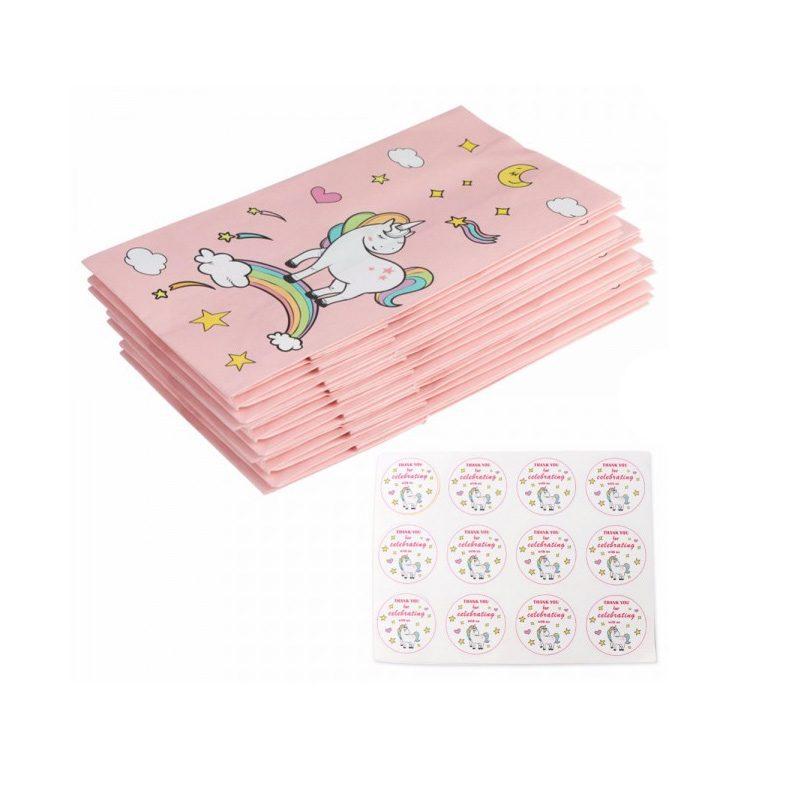Bonitas bolsas de unicornio. Pack de 12. Incluye pegatina para el cierre.