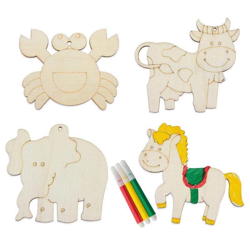 Pack de 4 animales de madera con rotuladores
