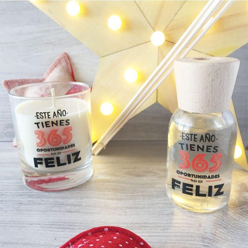 Pack regalo de Navidad con vela y mikado Oportunidades para ser Feliz pack regalo de navidad con vela y mikado buenos propositos regalo navidad
