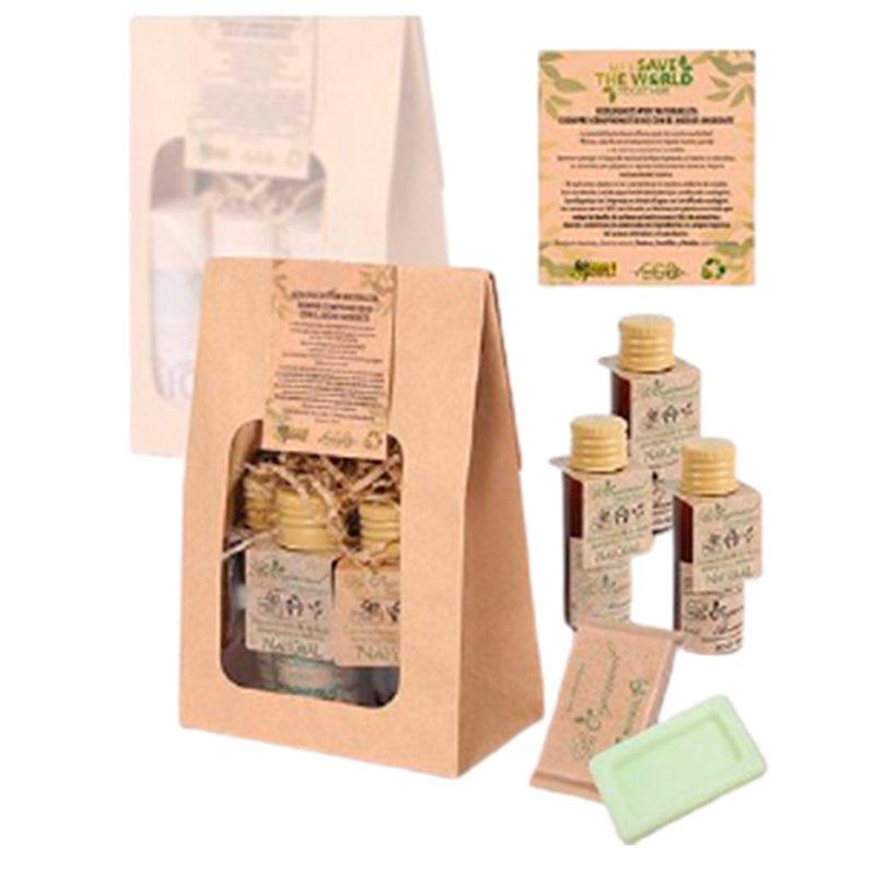 Ultimos regalos para invitados añadidos pack regalo ecologico de miniaturas de cosmeticos 4 productos bolsa kraf