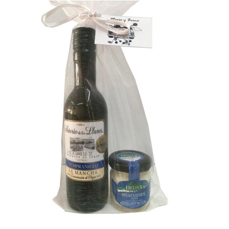 Pack gourmet. Vino y crema de queso. Incluye bolsa de organza.