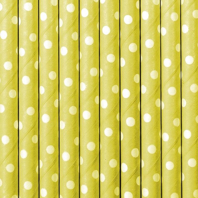 Lote de 10 cañas. Lunares blancos, fondo amarillo. 19.5cm