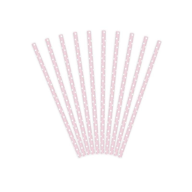 Lote de 10 cañas. Lunares blancos, fondo rosa. 19.5cm