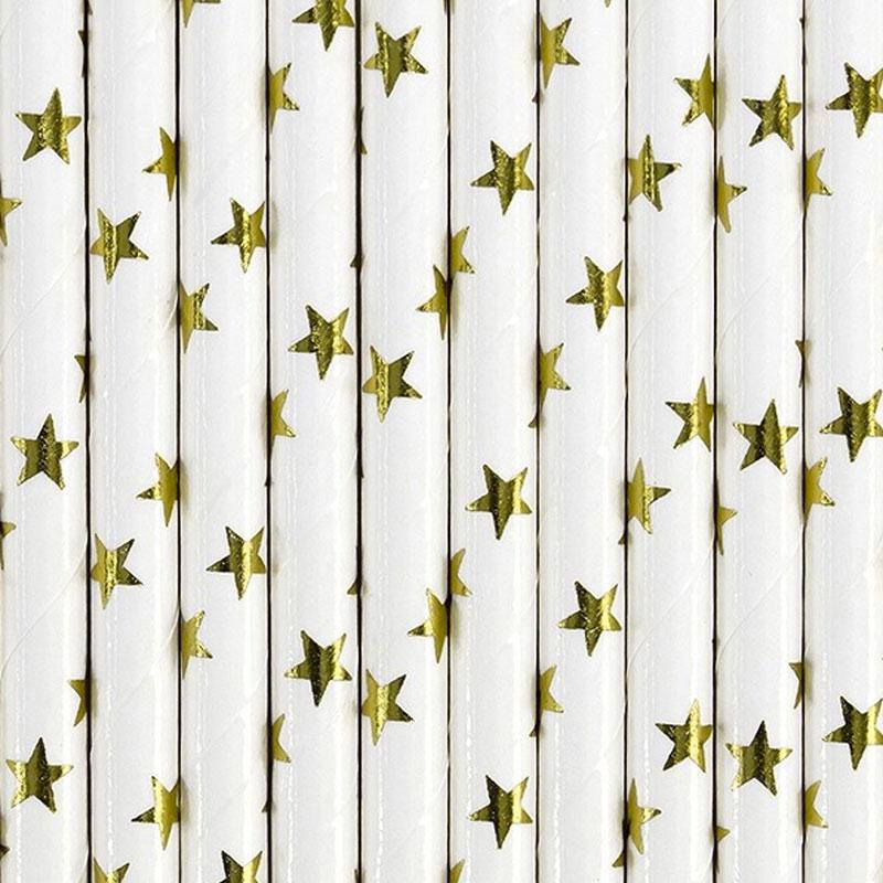 Lote de 10 cañas. Estrellas doradas. 19.5cm