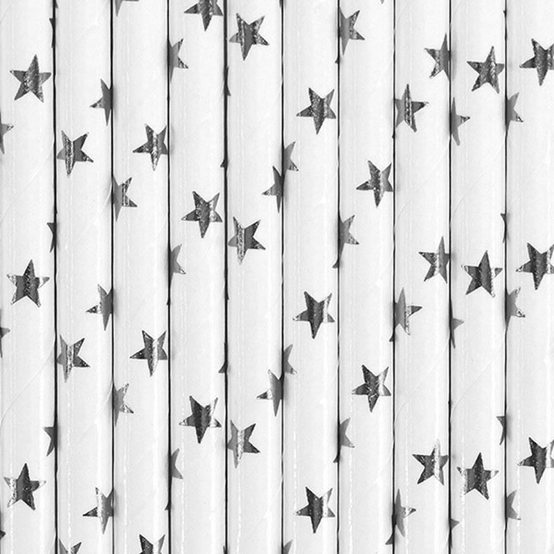 Lote de 10 cañas. Estrellas plateadas. 19.5cm