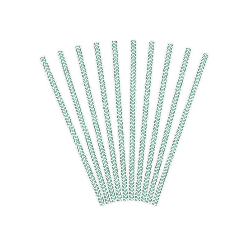 Lote de 10 cañas. Zig-zag azul tiffany, fondo blanco. 19.5cm