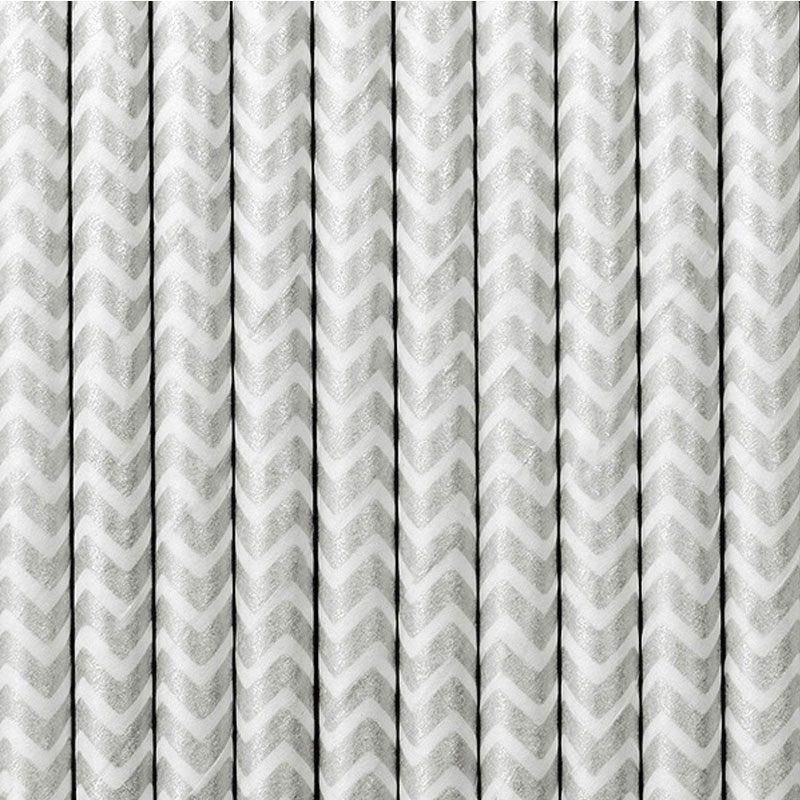 Lote de 10 cañas. Zig-zag plata, fondo blanco. 19.5cm