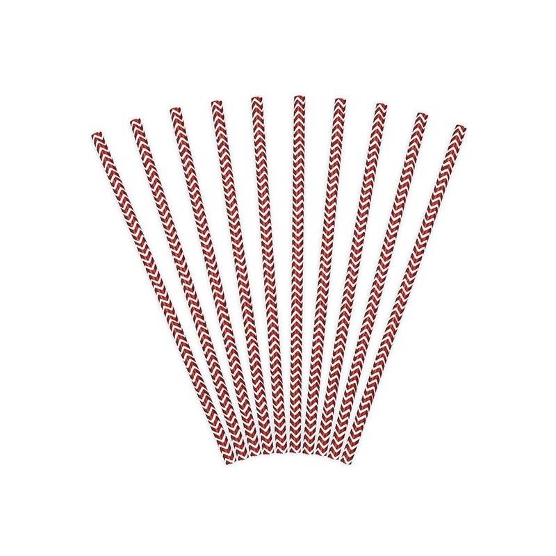Lote de 10 cañas. Zig-zag rojo, fondo blanco. 19.5cm